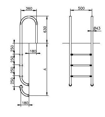 Zwembadladder – smal model met 4 treden