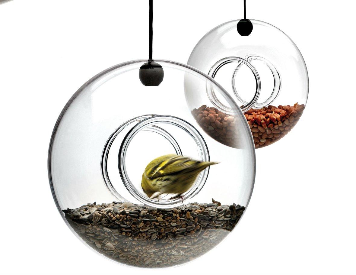glazen vogel voederhuisje