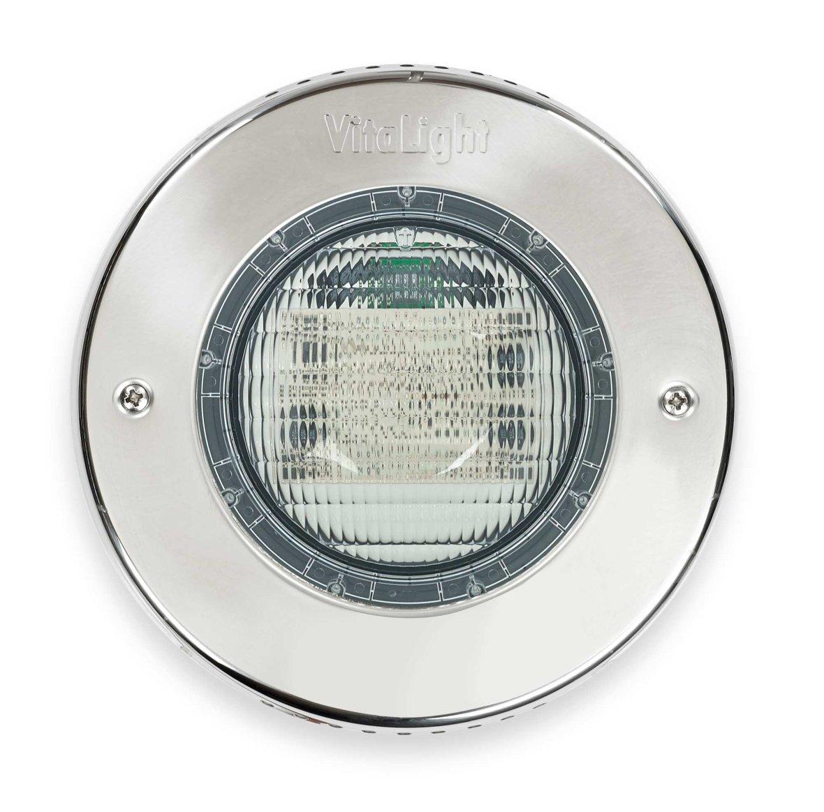 LED verlichting met inox omkadering voor zwembaden.