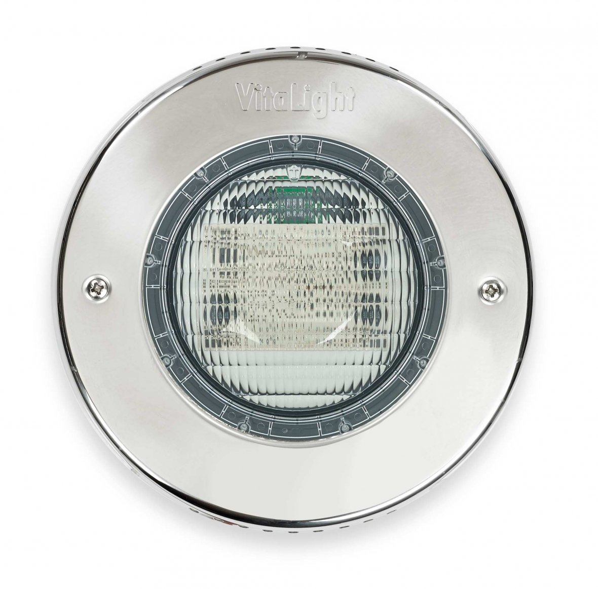 LED-verlichting voor zwembaden met inox omkadering.