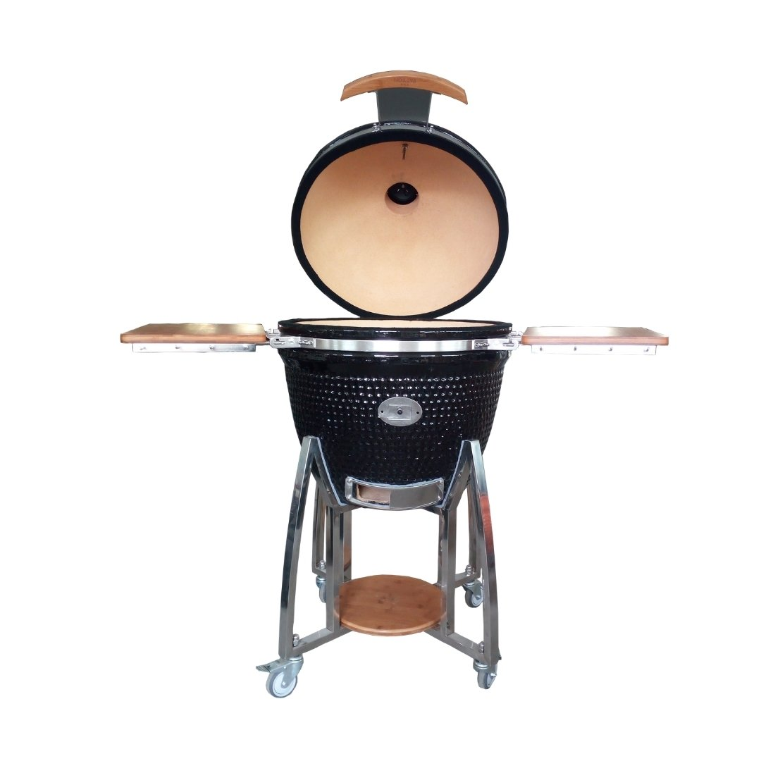 Houtskoolbarbecue met keramische kuip en deksel